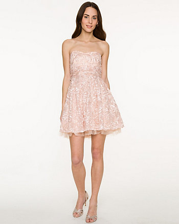 Embroidered Soutache Sweetheart Party Dress