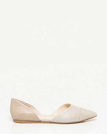 Leather Pointy Toe d'Orsay Flat