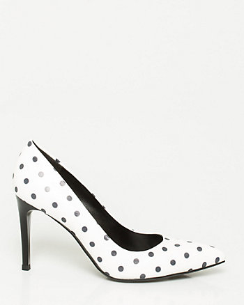 Leather-Like Dot Print Pump
