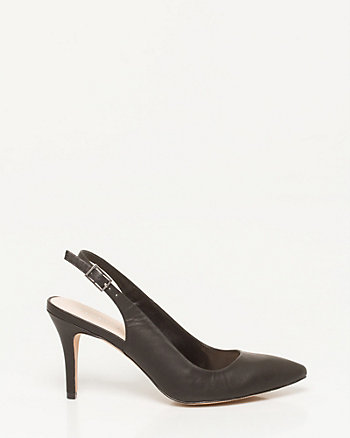 Leather-Like Pointy Toe Slingback Pump