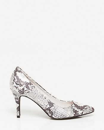 Leather-like Snake Print Pump