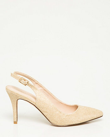 Metallic Pointy Toe Slingback Pump