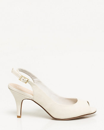 Leather-Like Slingback Peep Toe Sandal