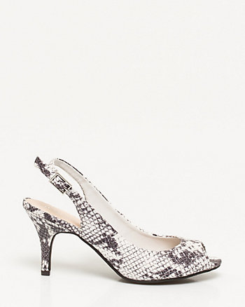 Snake Embossed Leather-Like Slingback