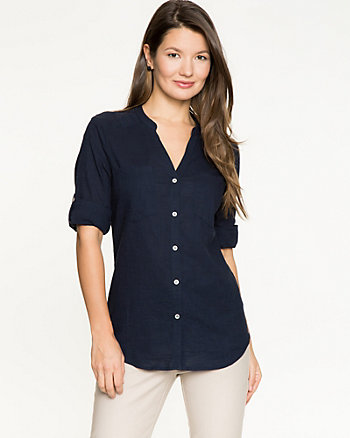 Cotton Voile Button-Front Blouse
