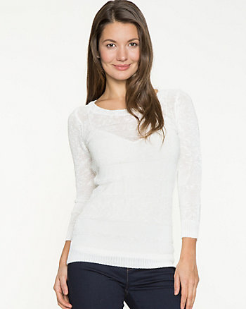 Linen Blend Scoop Neck Sweater