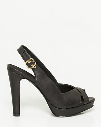 Leather Platform Slingback Sandal