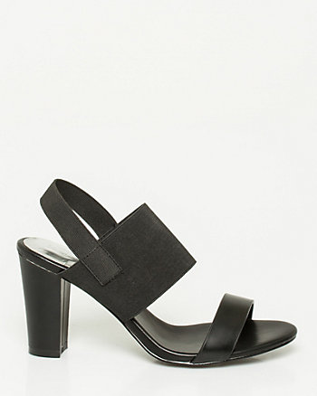 Leather-Like & Elastic Block Heel Sandal