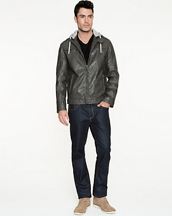 Leather-Like Hooded Moto Jacket