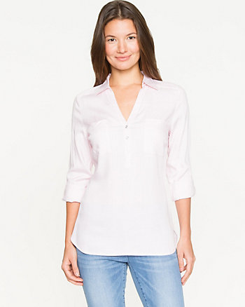 Textured Challis Roll-up Sleeve Blouse
