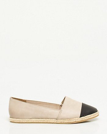 Leather-Like Round Toe Espadrille