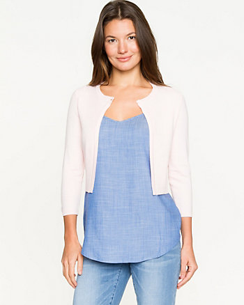 Rib Knit Open-front Cardigan
