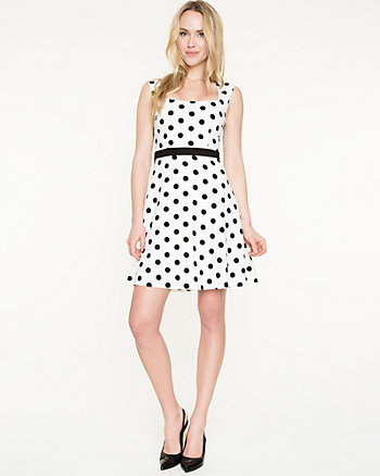 Polka Dot Print Crêpe de Chine Dress