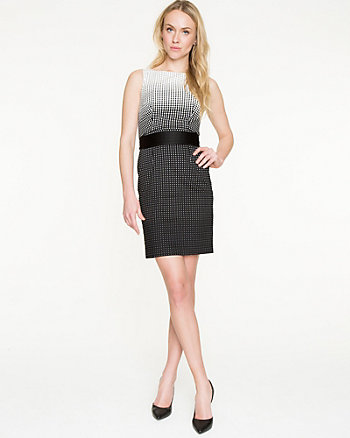 Ombré Dot Cotton Blend Shift Dress