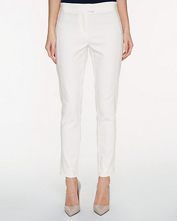 Cotton Blend Slim Leg Ankle Pant