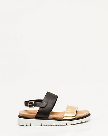 Leather Double Band Flatform Sandal