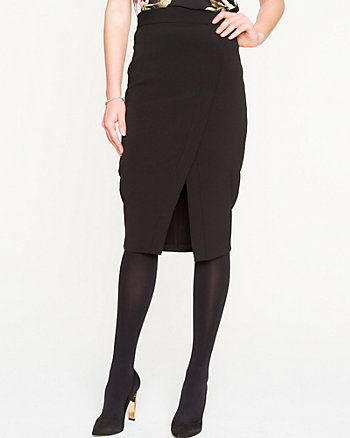 Stretch Twill Midi Skirt