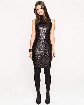 Sequin Mock-neck Mini Dress