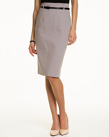 Geo Print Jacquard Pencil Skirt