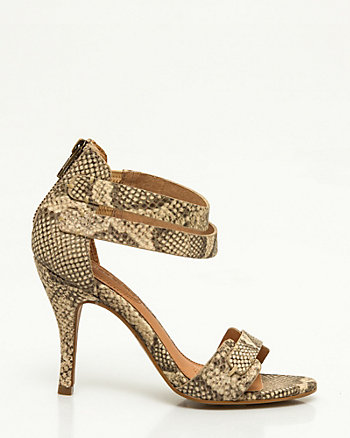 Snake Print Leather Ankle Strap Sandal