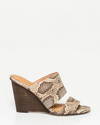 Snake Leather Double Band Mule