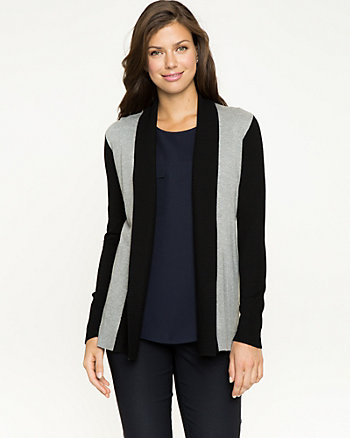 Knit Colour Block Open-Front Cardigan
