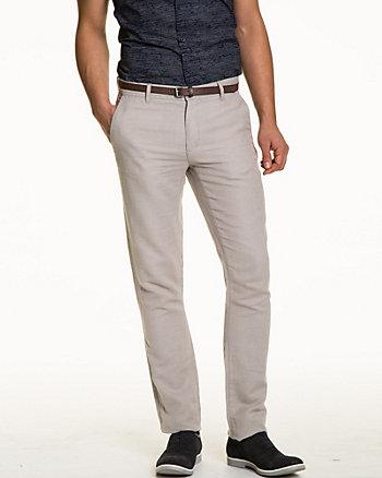 Linen Blend Belted Slim Leg Pant