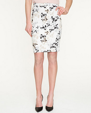 Floral Cotton Twill Pencil Skirt
