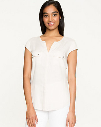 Challis Button-Front Blouse