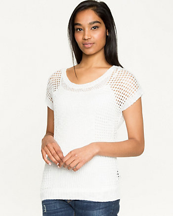 Open-Stitch Boat Neck Sweater Tank