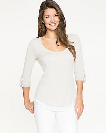 Knit & Chiffon Combo Scoop Neck Top