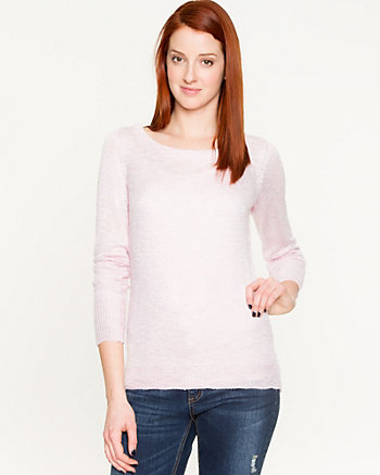 Slub Yarn Key Hole Back Sweater