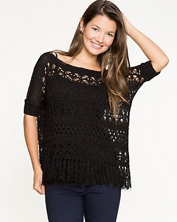 Open-Stitch Poncho Sweater