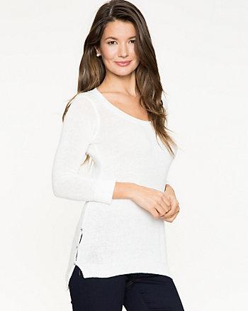 Cotton Blend & Lace Trim Sweater