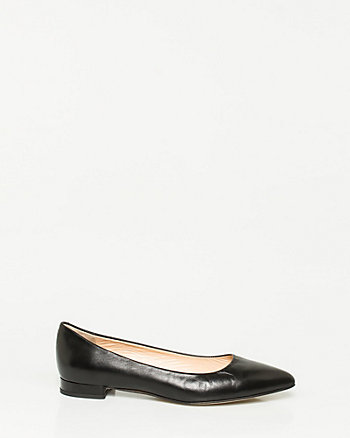 Italian-Made Leather Pointy Toe Ballerina