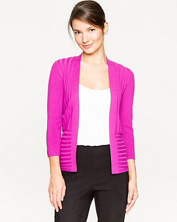 Viscose Blend Open-Front Rib Cardigan