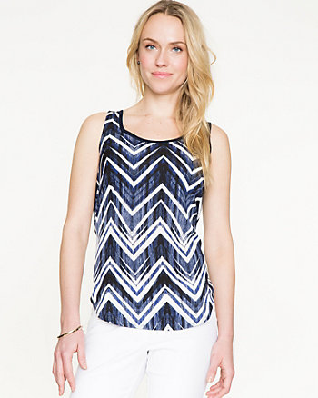 Chevron Print Combo Sweater Shell