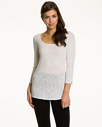 Slub Yarn Scoop Neck Sweater