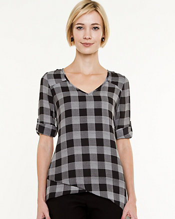 Crêpe de Chine Check Asymmetrical Blouse