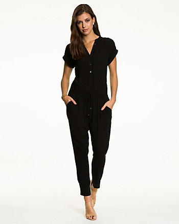 Challis Button-Front Slim Leg Jumpsuit