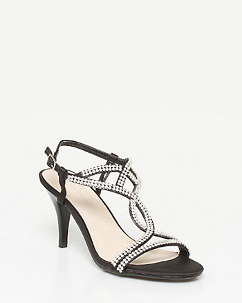 Jewelled Satin T-Strap Sandal