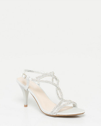 Jewelled Satin T-Strap Sandal