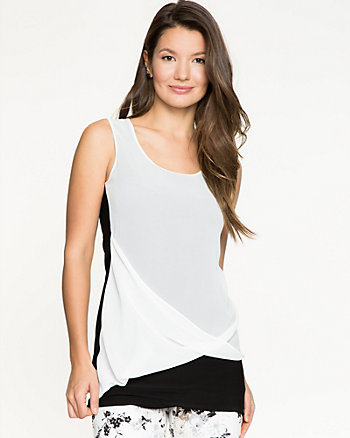 Chiffon & Knit Combo Round Neck Top
