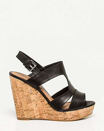 Leather Slingback Gladiator Wedge