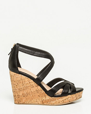Leather Strappy Open Toe Wedge