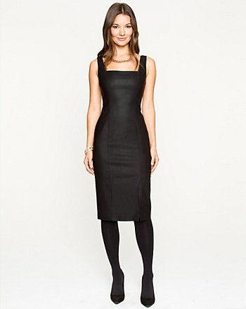 Coated Tech Stretch Fitted Sleeveless Dress