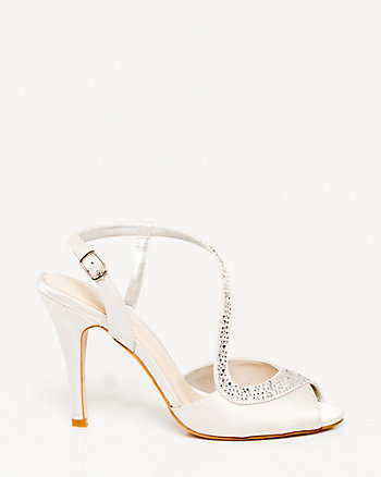 Jewelled Satin Asymmetrical Pump