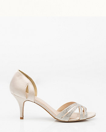 Jewel Embellished Satin d'Orsay Pump