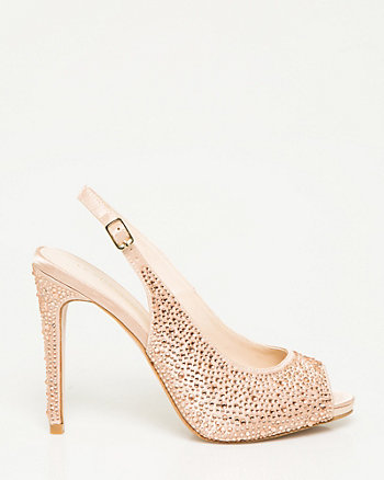Jewel Embellished Satin Slingback