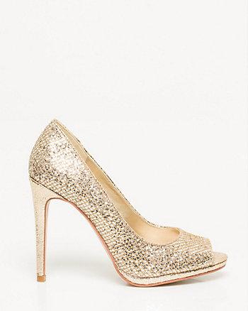 Glitter Mesh Peep Toe Pump